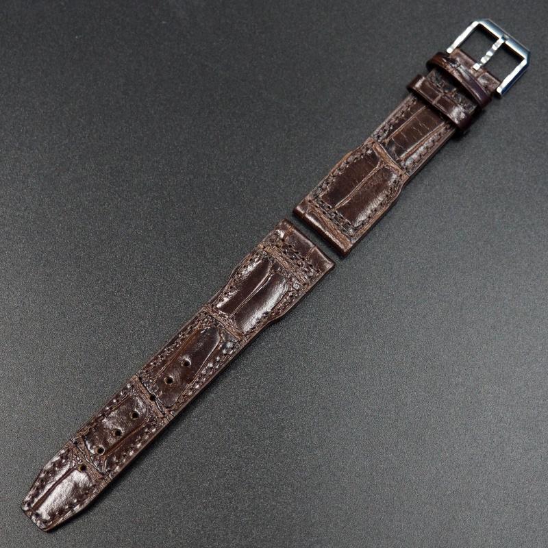 21mm IWC 棕色鱷魚紋牛皮錶帶