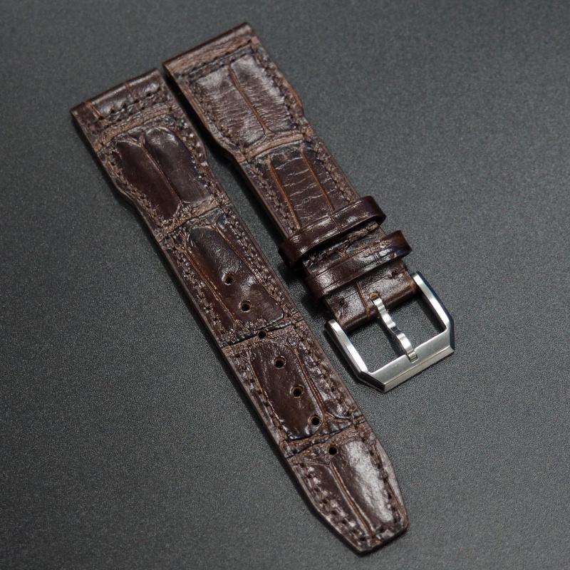 22mm IWC 棕色鱷魚紋牛皮錶帶