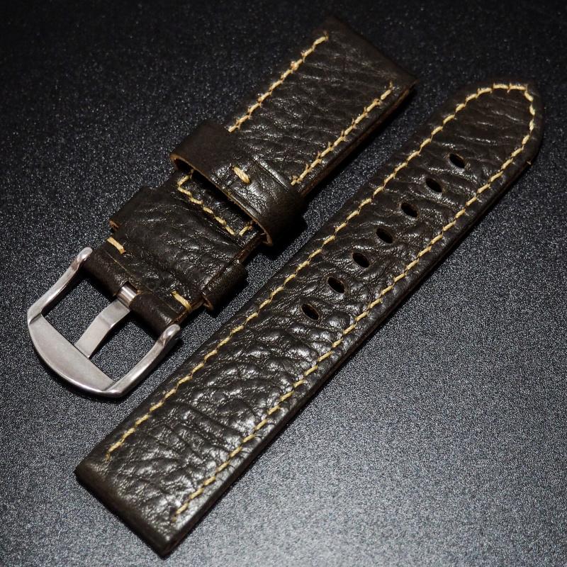 全新24mm 鴨屎綠色優質厚牛皮錶帶配精鋼針扣 合適 Rolex, IWC, Panerai & Seiko etc.