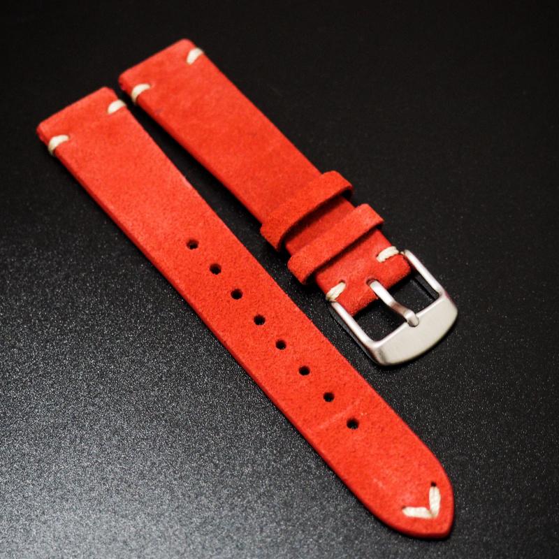 20mm 經典紅色意大利牛皮錶帶 適合Rolex, Omega, Iwc ,Tudor, Seiko
