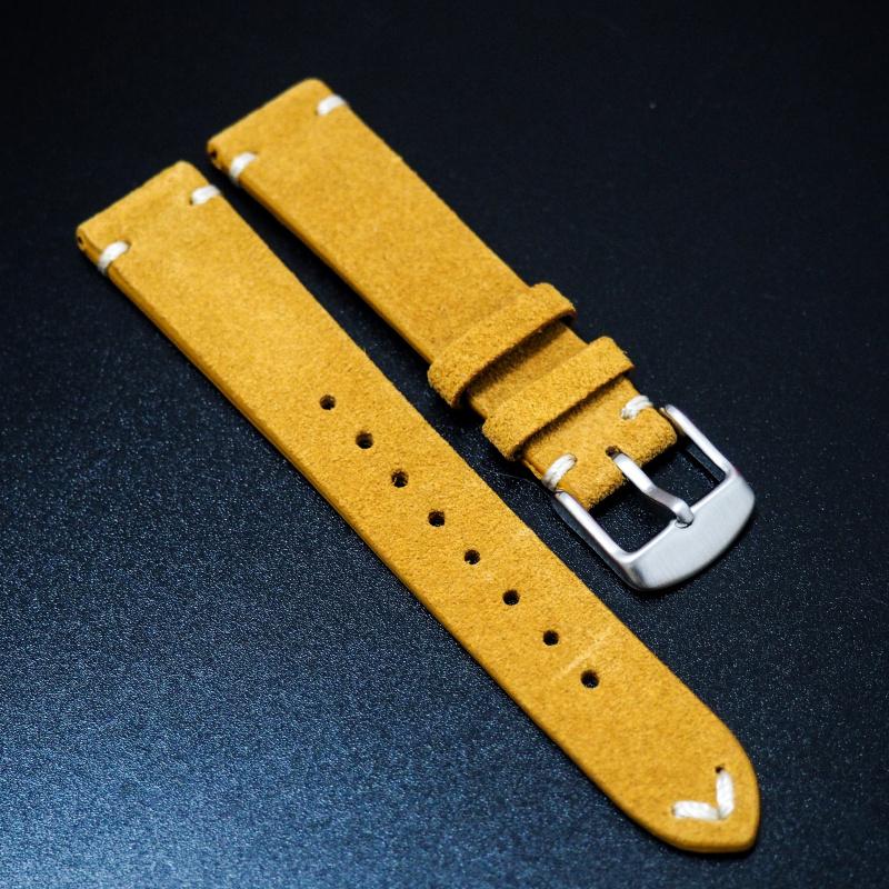 18mm, 20mm 蜜糖橙色復古猄皮錶帶