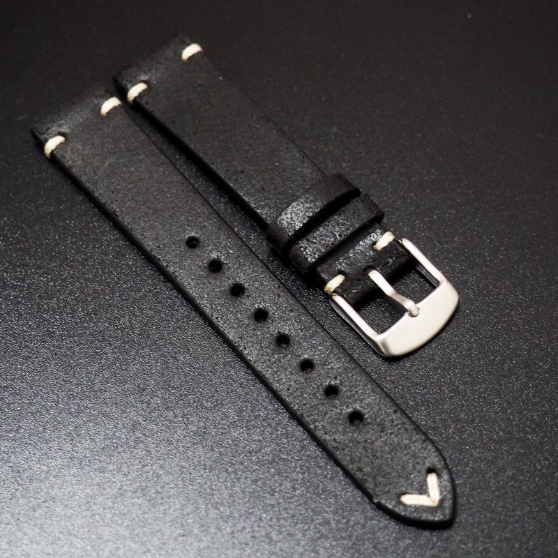 18mm, 20mm 復古黑色油蠟猄皮錶帶