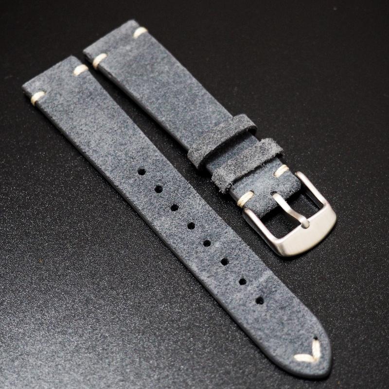 18mm, 20mm 復古個性藍色猄皮錶帶