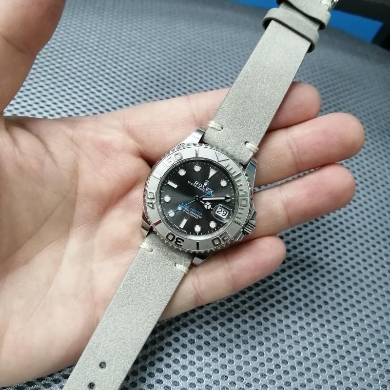 18mm, 20mm 復古灰色油蠟猄皮牛皮錶帶