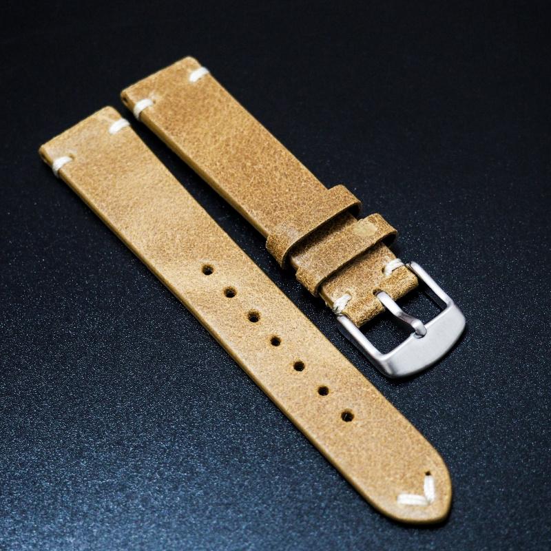 18mm, 20mm 復古赭黃色油蠟猄皮牛皮錶帶