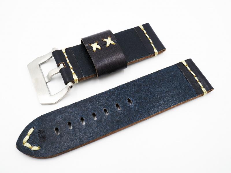 26mm 懷舊藍色牛皮錶帶配針扣