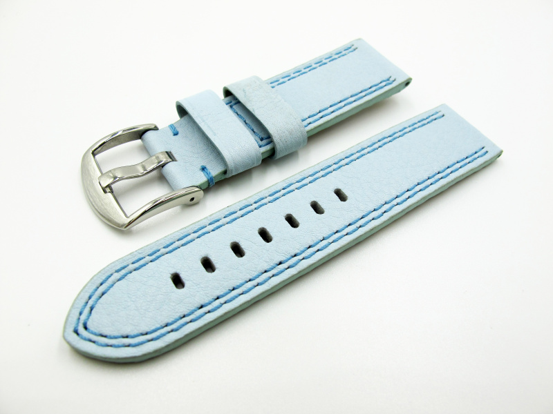 24mm 天空藍牛皮手工錶帶配針扣 適合Panerai