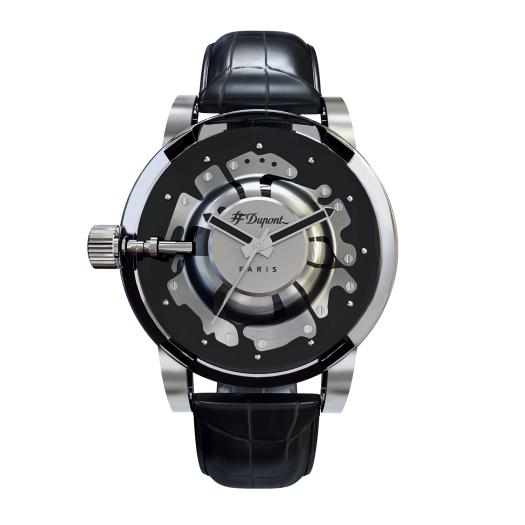 ST Dupont 都彭 官方專賣店 香港行貨 - HYPERDOME WATCH 腕錶 - BE BOLD - Black, Silver, Leather ( 購買前 請先Whatsapp:94966959查詢庫存 ) model : 065109