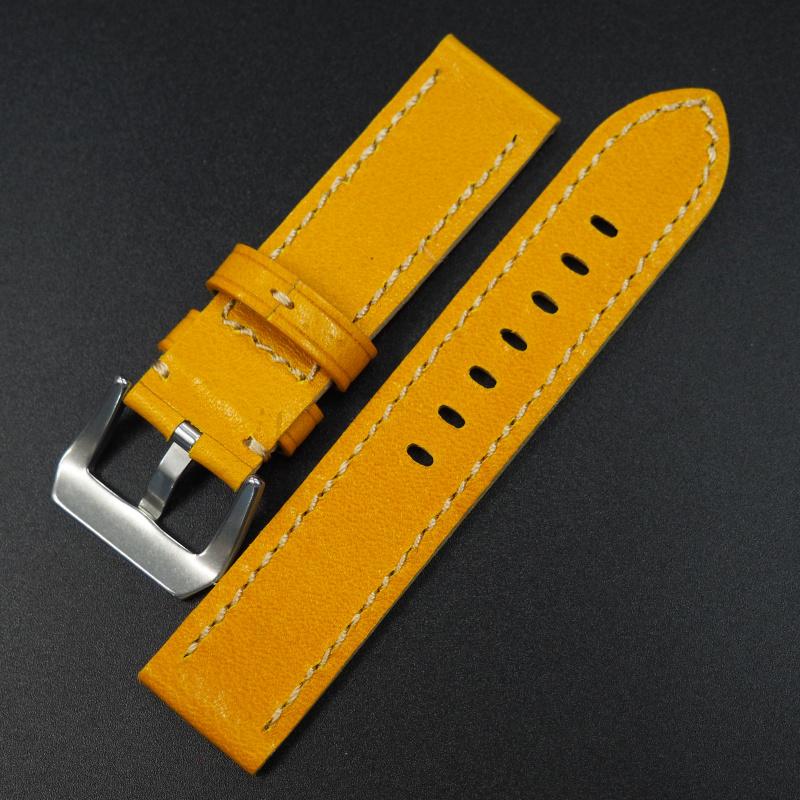 24mm 黃色牛皮錶帶 適合Panerai