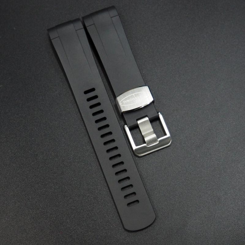 22mm 黑色優質硫化橡膠錶帶 適合Tudor Pelagos Series