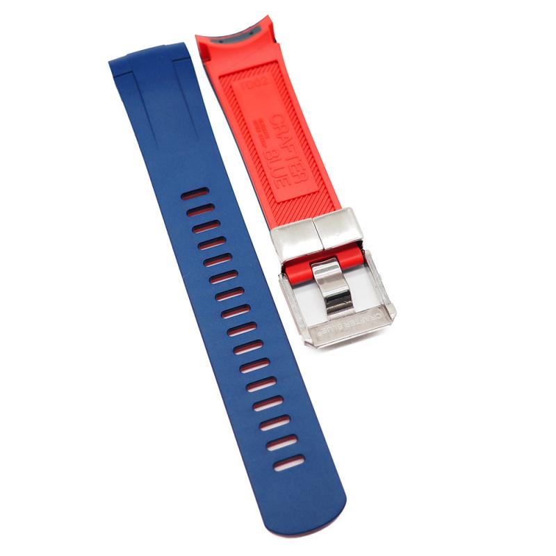 Crafter Blue 22mm 藍紅雙色優質硫化橡膠錶帶適合 Tudor Pelagos Series