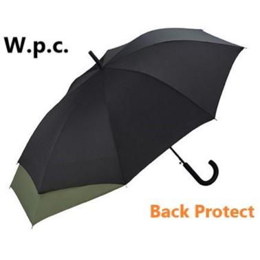 W.P.C. - (MSU-900)日本防背部沾濕加長保護半自動長雨傘 - 黑色