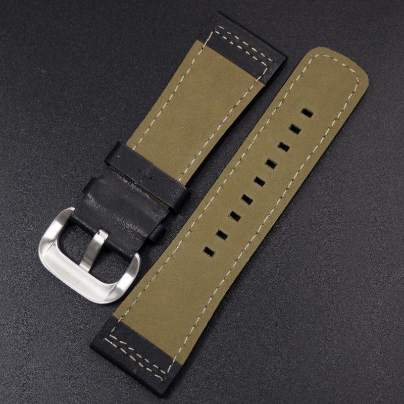 28mm SevenFriday 黑色牛皮錶帶配白車線