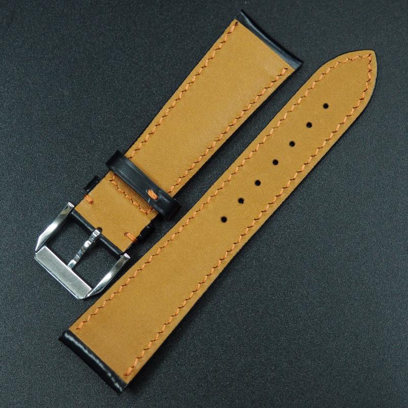 22mm 黑色馬臀皮錶帶配橙車線
