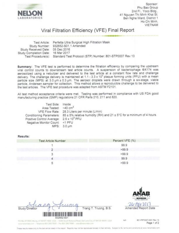 Perfetta Ultra 越南口罩 NELSON 認證 VFE BFE PFE 99% 35個/盒(獨立包裝)