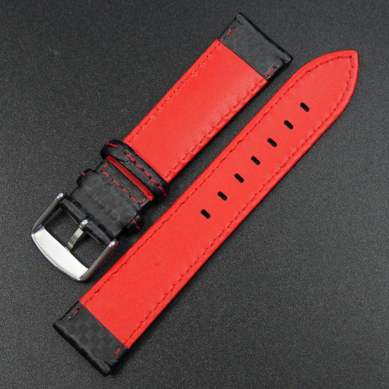 22mm 黑色碳纖維紅車線錶帶