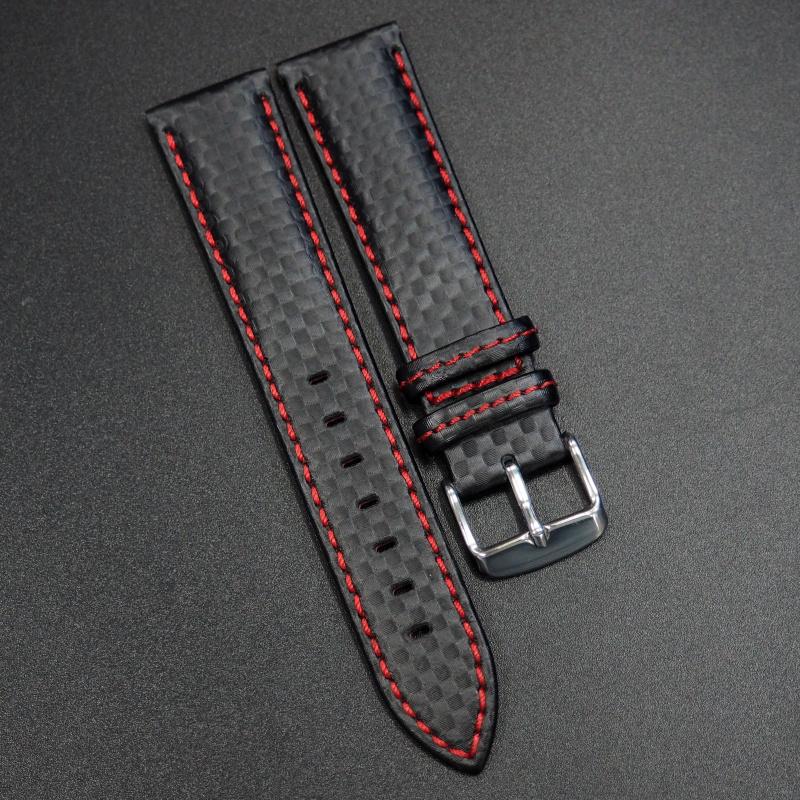 黑色碳纖維紅車線錶帶