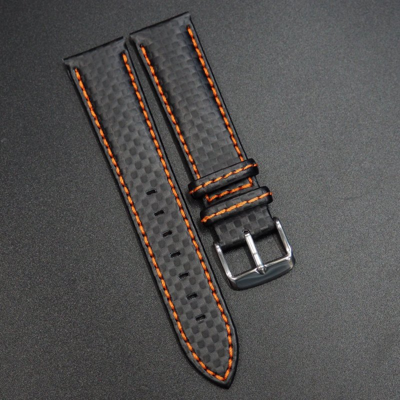 23mm Black Carbon Fiber / Orange Stitching Watch Strap