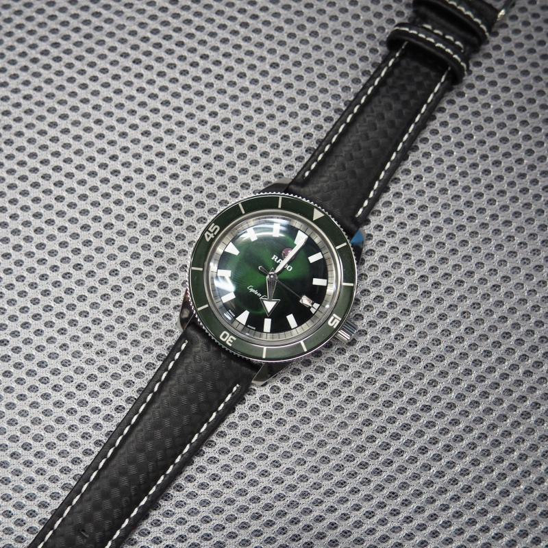20mm, 21mm, 22mm, 23mm 黑色碳纖維白車線錶帶