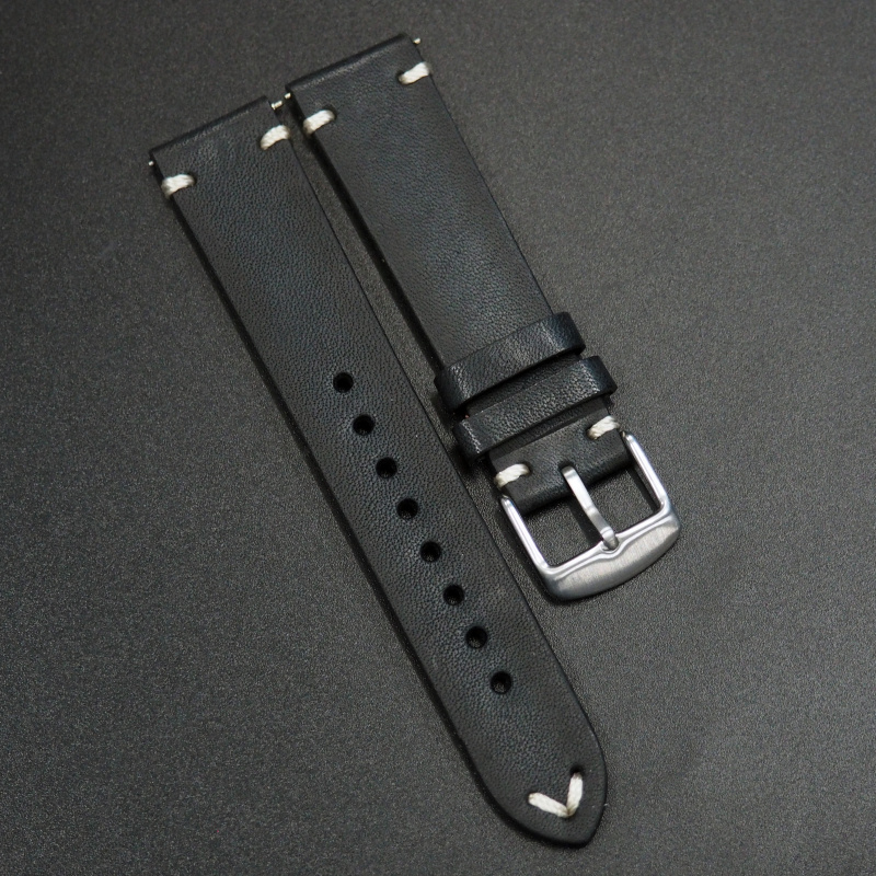 20mm 經典黑色意大利牛皮錶帶