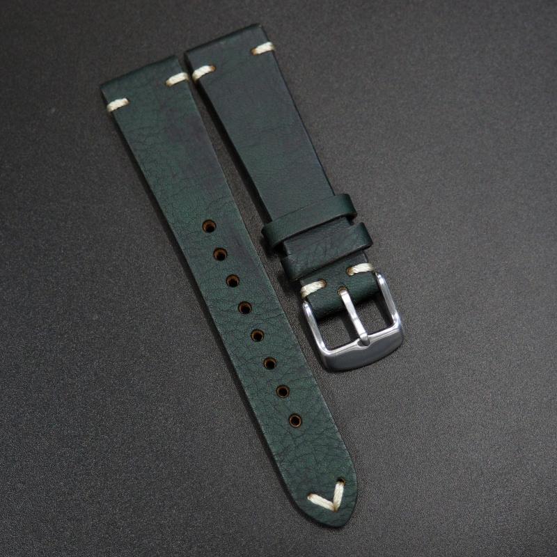 20mm 經典暗綠色意大利牛皮錶帶