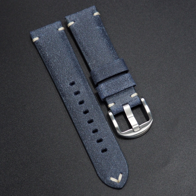 22mm 經典懷舊藍色意大利牛皮手工錶帶