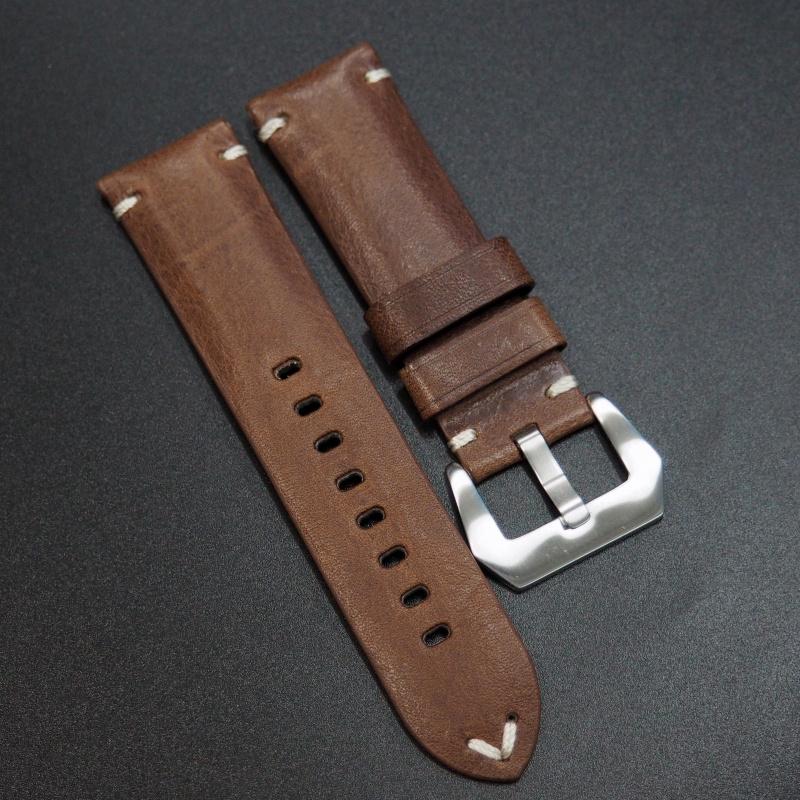 24mm 經典咖啡棕色意大利牛皮手工錶帶