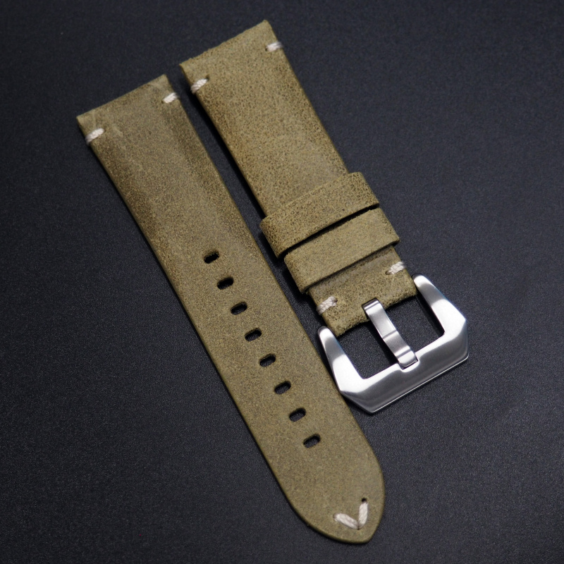24mm 經典懷舊綠色意大利牛皮手工錶帶