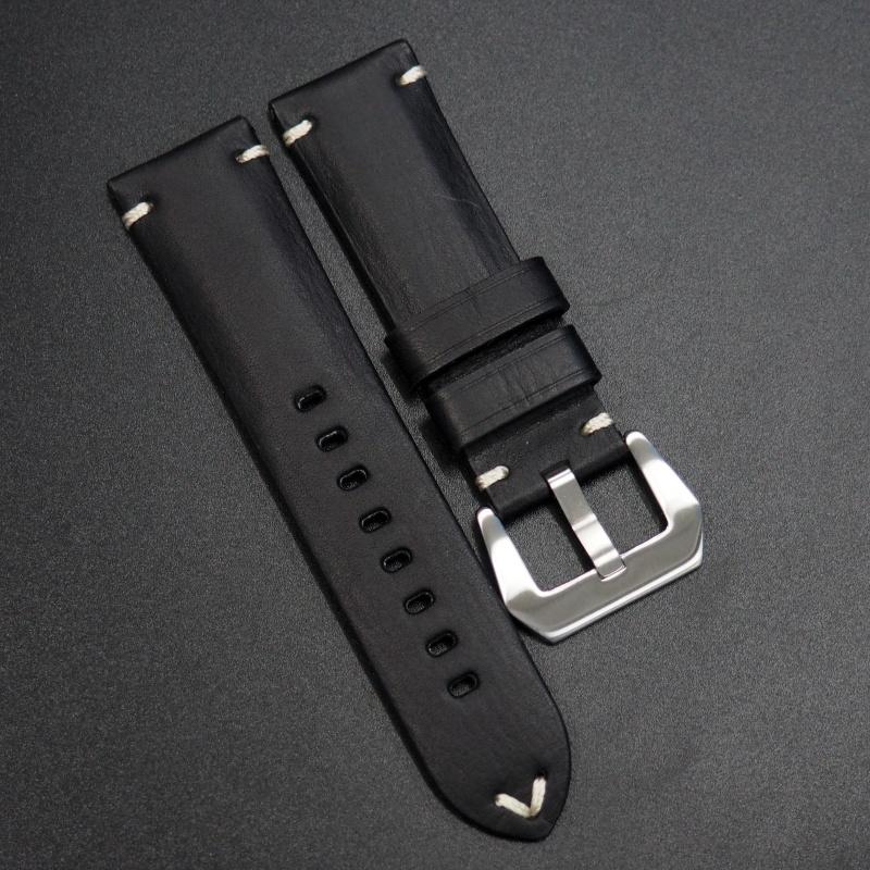 24mm 經典黑色意大利牛皮手工錶帶