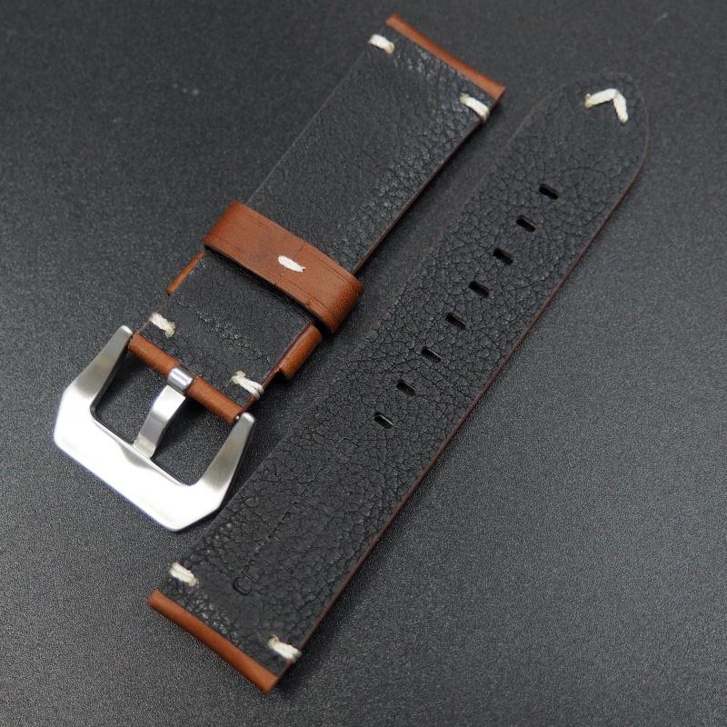 24mm 經典棕色意大利牛皮手工錶帶