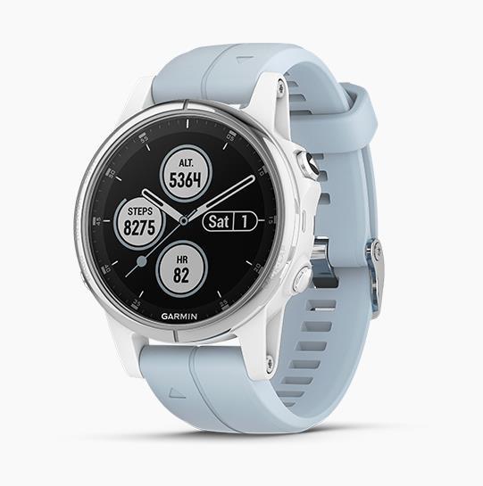 Garmin Fenix 5s Plus GPS 智能運動手錶 [亮銀錶圈搭藍色矽膠錶帶]