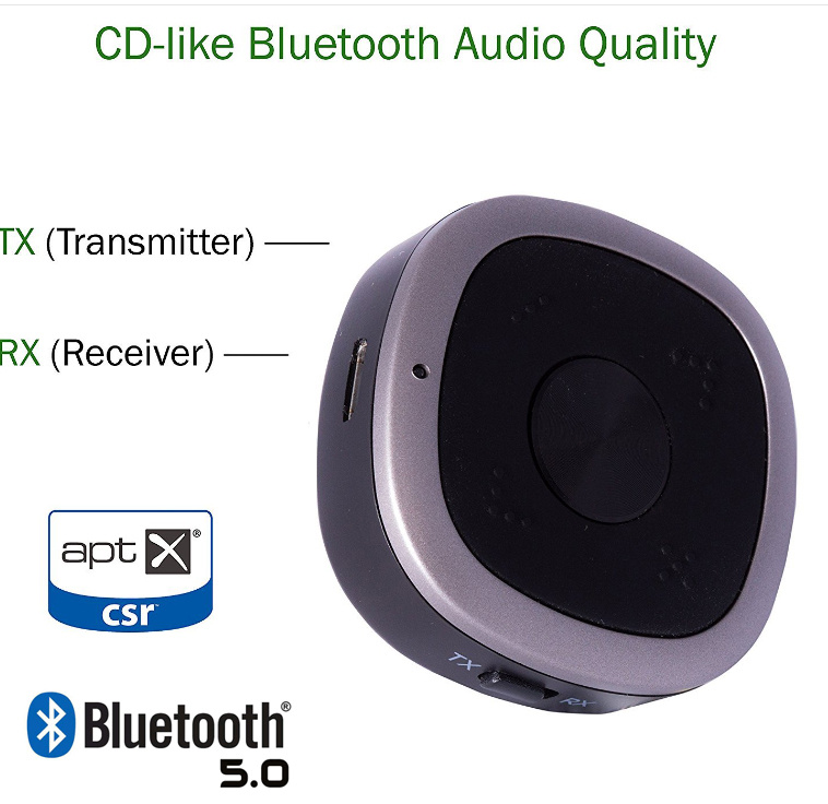 aptX HD Bluetooth 5.0 Music Transmitter and Receiver 藍芽音頻 2in1發射器 接收器 aptX HD - S06226