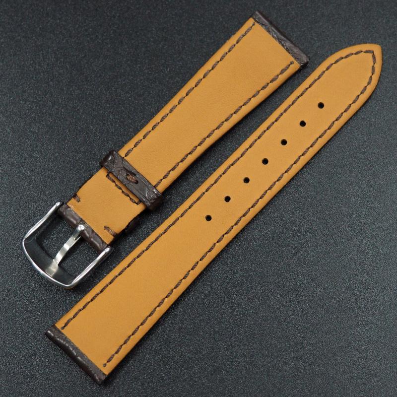 18mm, 19mm 優質暗棕色鱷魚皮錶帶
