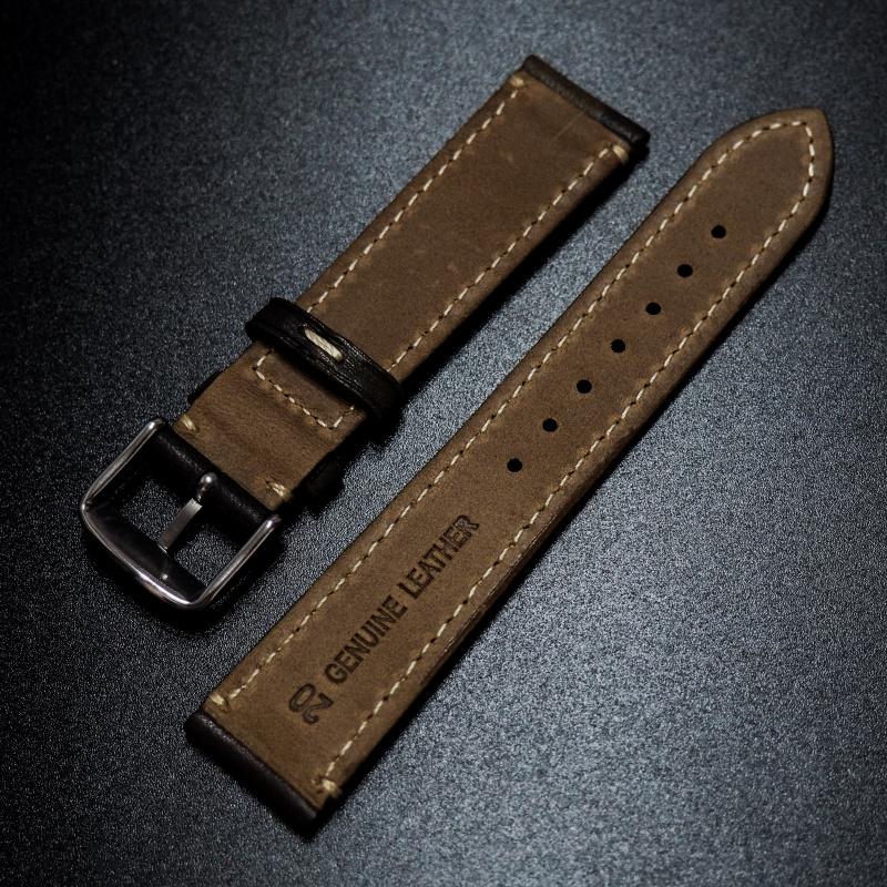 18mm, 20mm, 22mm 棕色迷彩牛皮錶帶