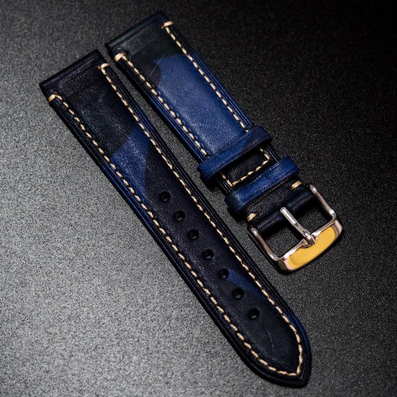 18mm, 20mm, 22mm 藍色迷彩牛皮錶帶