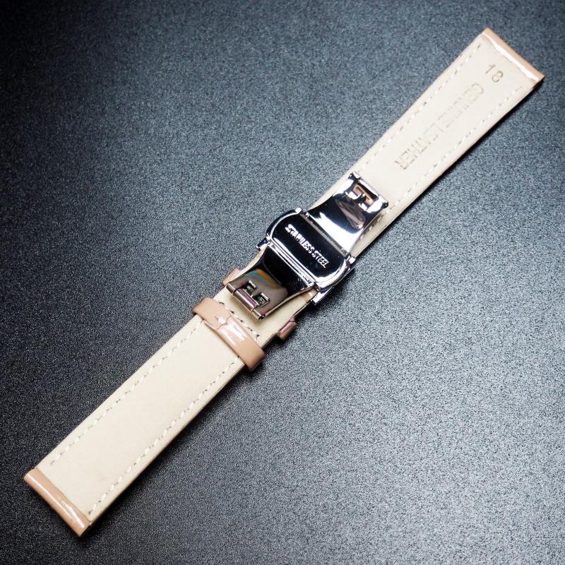 18mm 粉肉色牛皮錶帶配蝴蝶扣