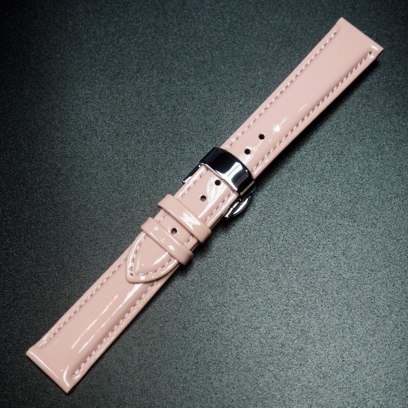18mm 粉紅色牛皮錶帶配蝴蝶扣