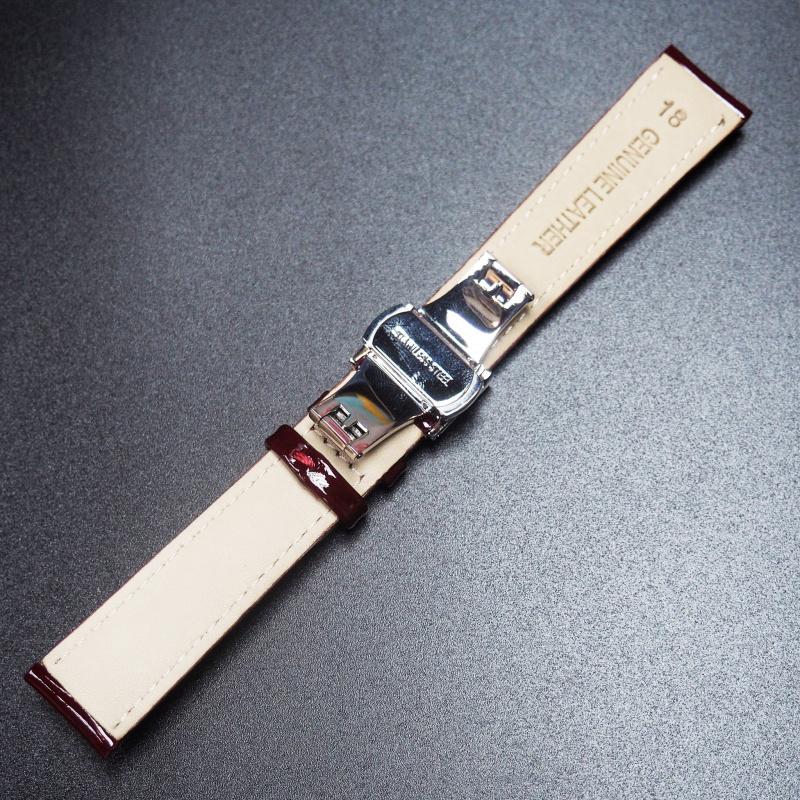 18mm 紅色牛皮錶帶配蝴蝶扣