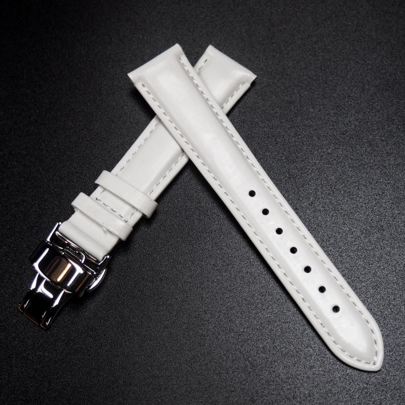 18mm 白色牛皮錶帶配蝴蝶扣
