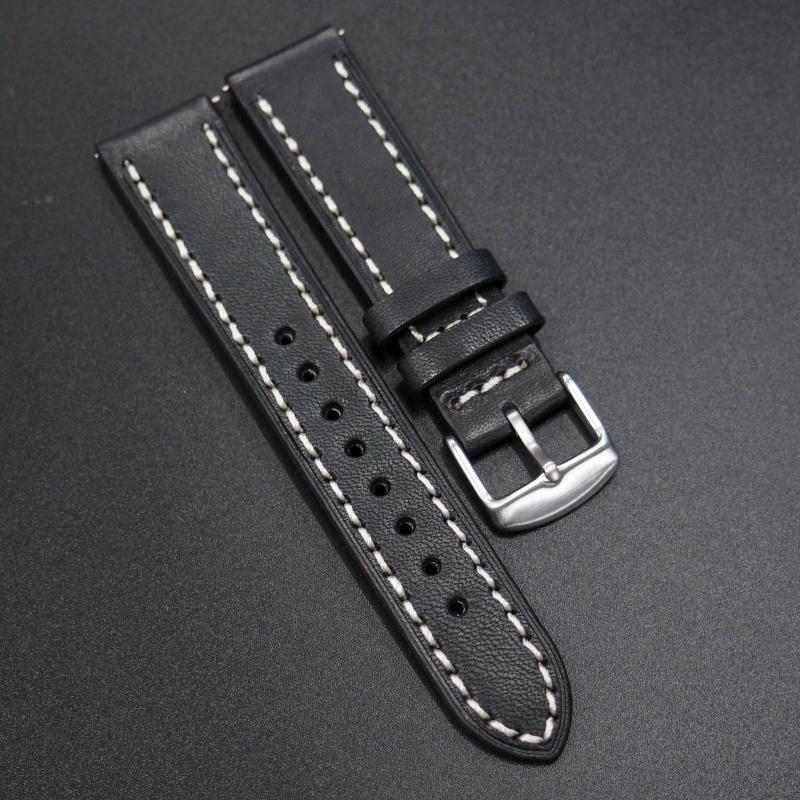 18mm, 20mm 黑色意大利牛皮錶帶