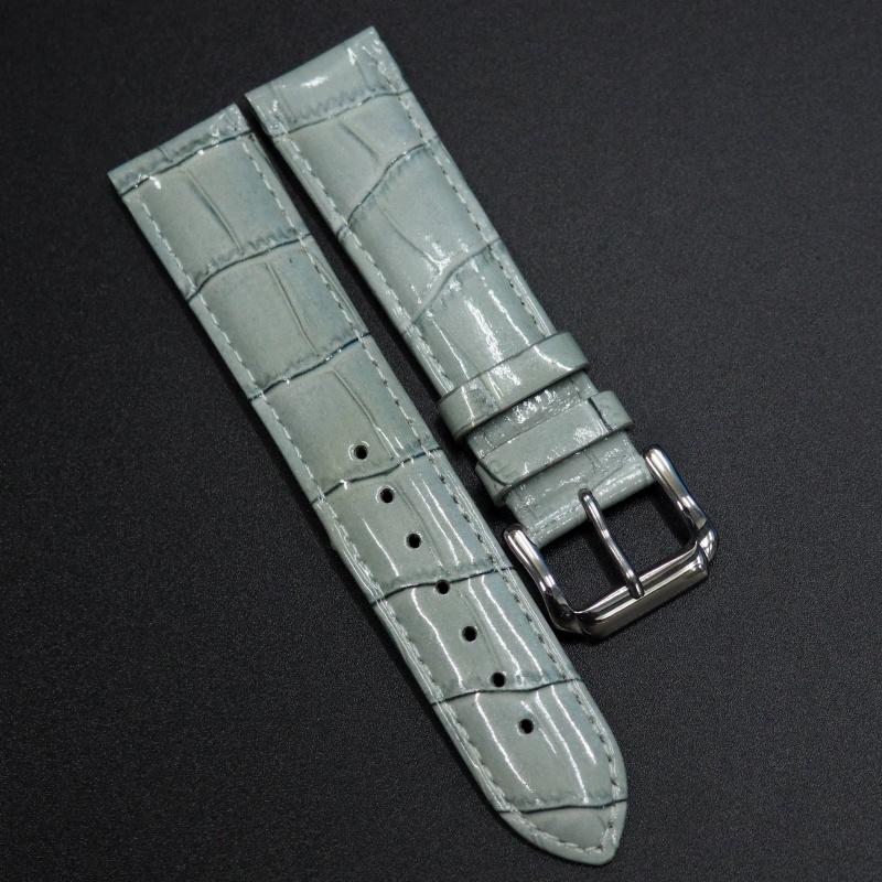 20/22mm 光澤白鴒藍鱷魚紋牛皮錶帶