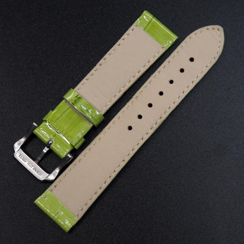20/22mm 光澤黃綠色鱷魚紋牛皮錶帶