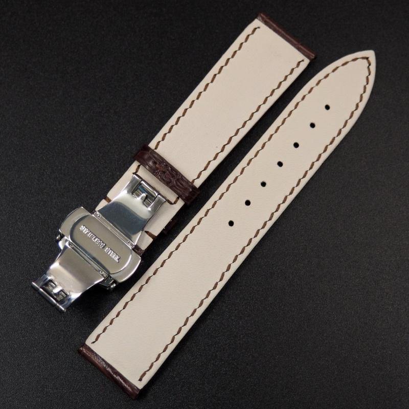 20mm 優質棕色鱷魚皮錶帶
