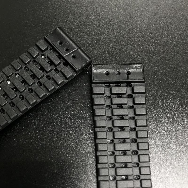 18mm, 20mm 黑色鱷魚紋牛皮膠底錶帶
