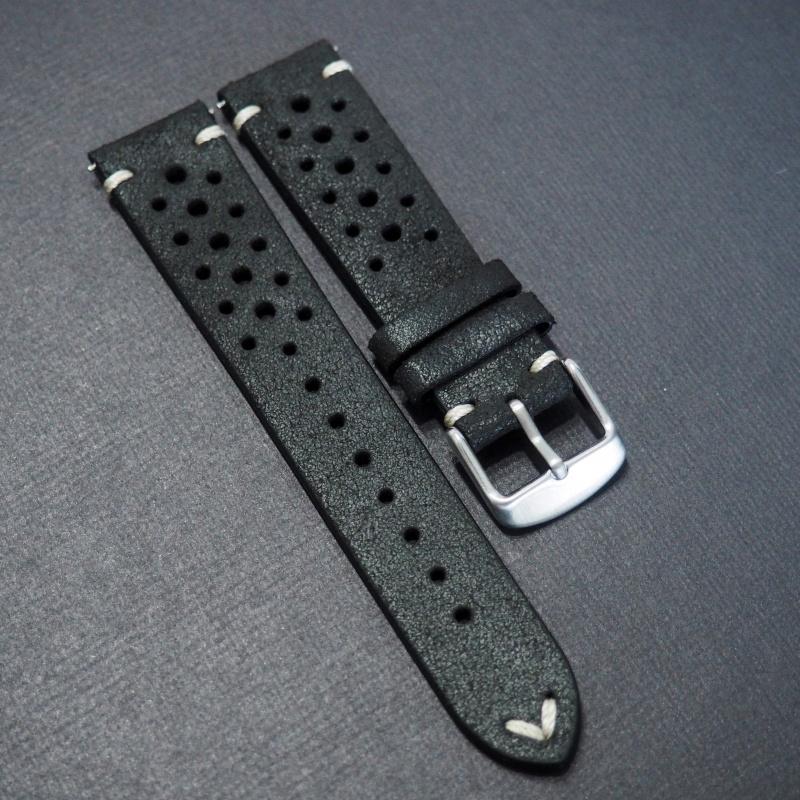 20mm Rally 黑色意大利牛皮錶帶