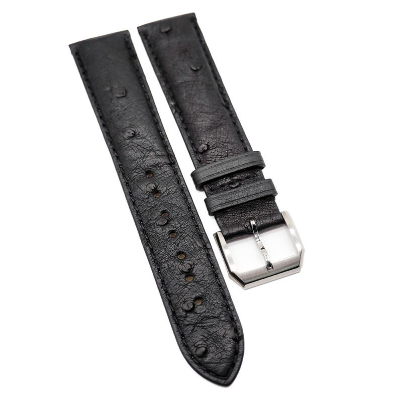 20mm 黑色鴕鳥皮錶帶