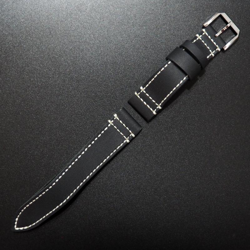 20mm 經典黑色流線型牛皮錶帶