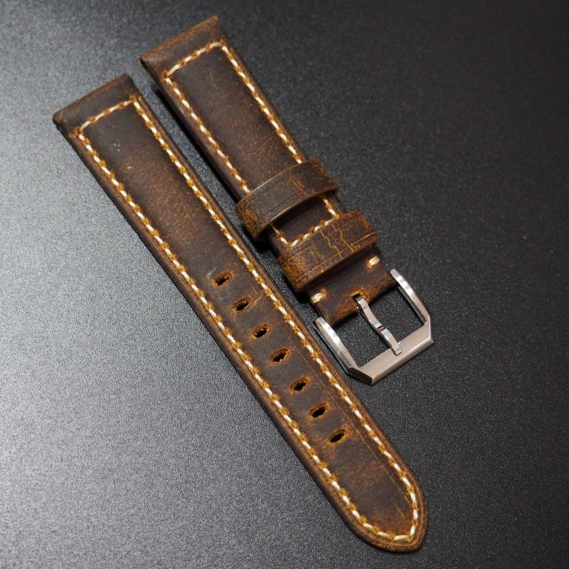 20mm, 22mm, 24mm, 26mm Panerai 火橙色意大利牛皮錶帶