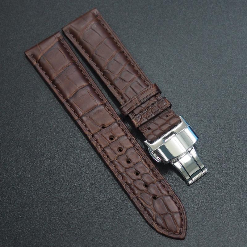 20mm 暗棕色鱷魚皮錶帶