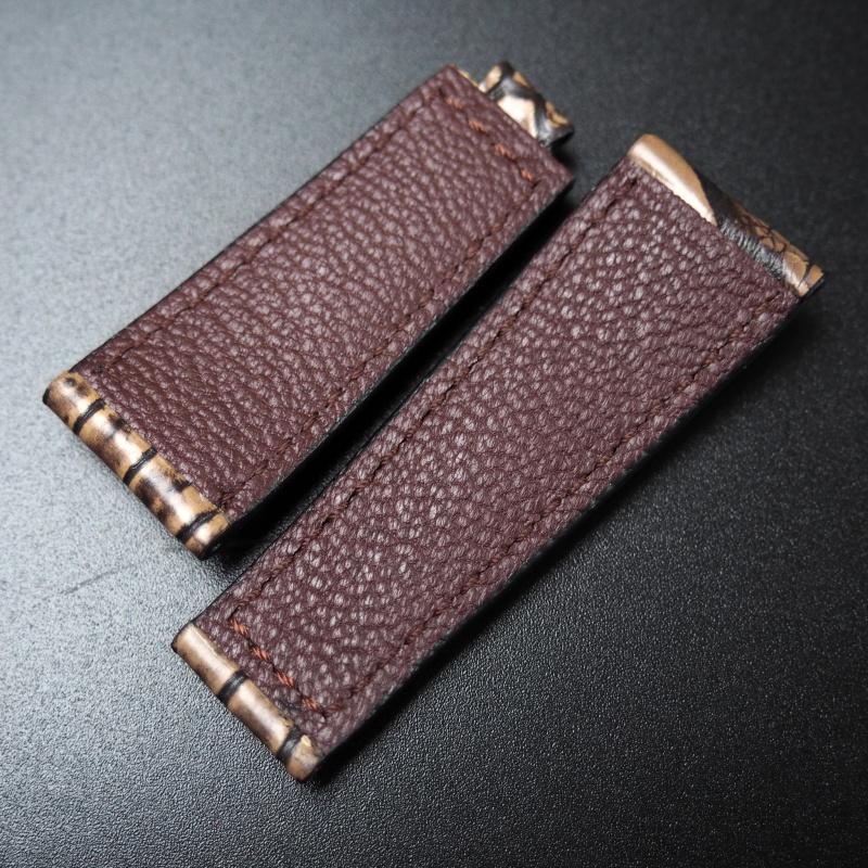20mm 經典棕/黑色鱷魚皮錶帶 適合Rolex